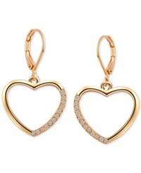 T Tahari Gold Tone Crystal Heart Drop Earrings