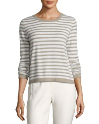 Iris Von Arnim Striped Back Button Cashmere Sweater Beige