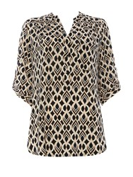 Wallis Petite Neutral Geo Print Shirt Stone