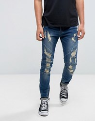 Cayler And Sons Skinny Jeans In Blue With Distressing Blue