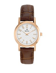 Bulova Ladies Rose Gold And Leather Watch Brown