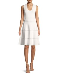 Lela Rose Sleeveless Fit And Flare Knit Dress With Cross Stitch Trim Ivory