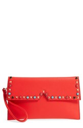 Sondra Roberts Sr Squared By Studded Faux Leather Clutch Red