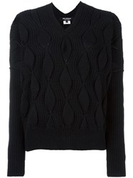 Comme Des Garcons Junya Watanabe Cable Knit Jumper Blue