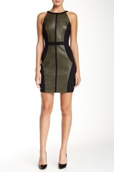 Vakko Sleeveless Pleather And Ponte Pieced Sheath Dress Green
