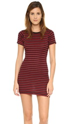 Edith A. Miller Crew Neck Mini Dress Black Red Track Stripe
