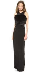 Sally Lapointe Cutout Gown With Fur Bodice Black
