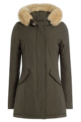 Woolrich Arctic Down Parka With Fur Trimmed Hood Green