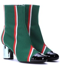 Marco De Vincenzo Striped Ankle Boots Green