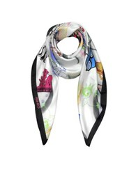 Moschino Spend The Nite At Signature Silk Square Scarf White