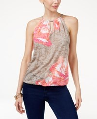 Inc International Concepts Embellished Halter Top Only At Macy's Botanical Placed Peony