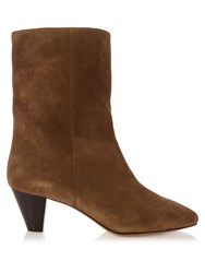 Isabel Marant Dyna Suede Ankle Boots Tan