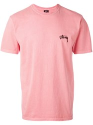 Stussy Back Logo Print T Shirt Men Cotton L Pink Purple