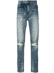 God's Masterful Children Ripped Embroidered Slim Fit Jeans Blue