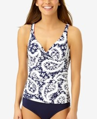 Anne Cole Pattie Paisley Underwire Bra Sized Tankini Top Available In D Women's Swimsuit Navy White