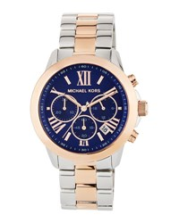Michael Michael Kors Jet Set 40Mm Two Tone Chronograph Bracelet Watch Blue