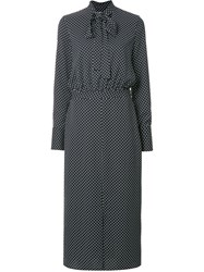 Ck Calvin Klein Polka Dotted Tie Neck Dress Black