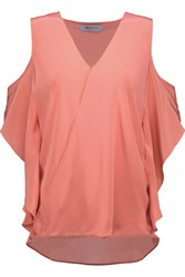 Bailey 44 Cutout Wrap Effect Silk Crepe Top Coral
