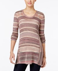 Styleandco. Style Co. Petite Striped Handkerchief Hem Sweater Only At Macy's Pink Combo