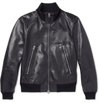 Tom Ford Slim Fit Leather Blouson Jacket Midnight Blue