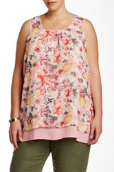 Daniel Rainn Printed Layered Tank Plus Size Pink
