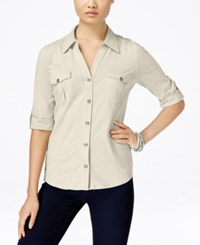 Style And Co Petite Jersey Utility Shirt Only At Macy's Stonewall