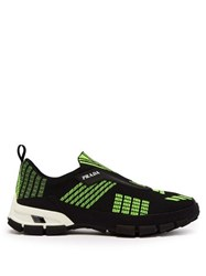 Prada Cross Action Mesh Trainers Black Green
