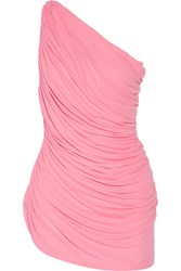 Norma Kamali Diana Mio Ruched One Shoulder Swimsuit Pink