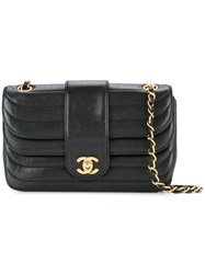 Chanel Vintage Quilted Cc Logo Double Flap Shoulder Bag Black