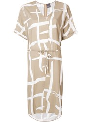 Lorena Antoniazzi Pattern Print Belted Waist Dress Nude And Neutrals