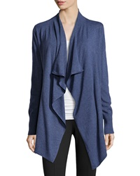 Neiman Marcus Knit Open Front Cardigan Heather Denim