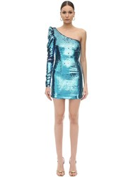 Amen Asymmetrical Sequined Mini Dress Blue
