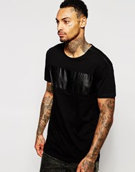 Religion T Shirt With Faux Leather Panel Black
