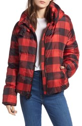 Kendall Kylie Oversize Plaid Puffer Jacket Black Red Plaid
