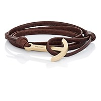 Miansai Men's Modern Anchor On Leather Wrap Bracelet Beige