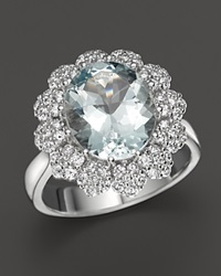 Bloomingdale's Aquamarine And Diamond Statement Ring In 14K White Gold Blue White