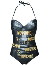 Moschino Chain And Leather Illusion Swimsuit Grey
