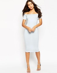 Asos Short Sleeve Off The Shoulder Bardot Midi Body Conscious Dress Pale Blue