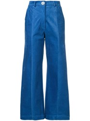 Manoush Cropped Palazzo Pants Blue