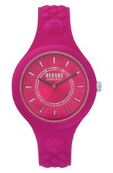 Versus By Versace Fire Island Silicone Strap Watch 39Mm Fuchsia Grey