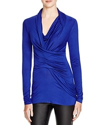Dylan Gray Jersey Ruched Wrap Top Royal