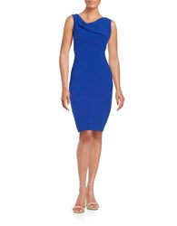 Theia Cowlneck Sheath Dress Royal Blue