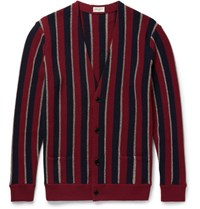 Saint Laurent Aint Triped Wool Blend Cardigan Burgundy
