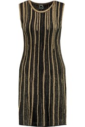 M Missoni Metallic Crochet Knit Mini Dress Black