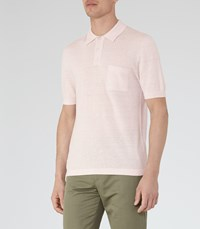 Reiss Gordon Mens Wool And Linen Polo Shirt In Pink