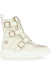 Alexander Mcqueen Studded Leather Exaggerated Sole High Top Sneakers