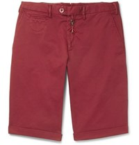 Isaia Slim Fit Stretch Cotton Twill Shorts Claret
