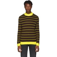 Acne Studios Brown And Yellow Striped High Neck Slim Sweater