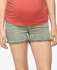 A Pea In The Pod Maternity Frayed Hem Shorts Olive