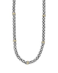 Lagos Caviar Mini Rope Necklace With 18 Kt. Stations 18 Silver Gold